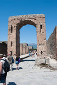 Pisa, Italy - August 27, 2014:Ancient Roman city of Pompeii, which was destroyed and buried by — Foto de Stock