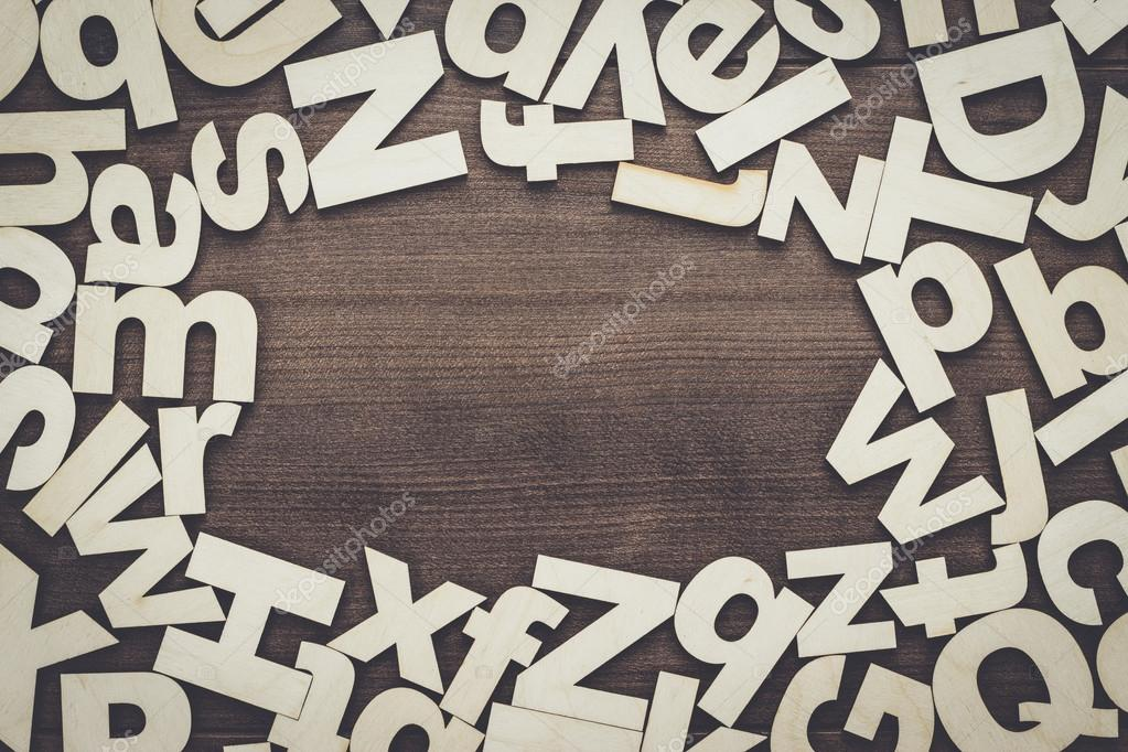 uppercase and lowercase wooden letters background stock photo 114457262