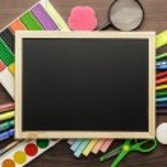 School supplies and blackboard — Stock Photo #62921627