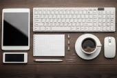 Overhead of essential office objects in order — Stock Photo