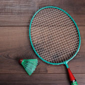 Shuttlecock and badminton racket — Stock Photo