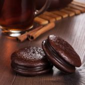 Chocolate cookies on table teatime concept — Stock Photo