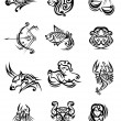 Tribal black and white zodiac signs — Stock Vector #61751991