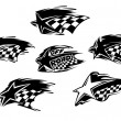 Black and white racing motor sport icons — Stock Vector #61751999