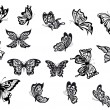 Set of black and white vector butterflies — Stock Vector #61752047
