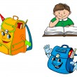 Colorful cartoon boy with book and school backpacks — Stock Vector #61752083