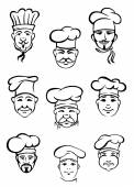 Collection of chefs in traditional toques — Stock Vector