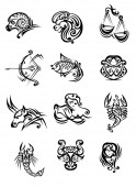 Tribal black and white zodiac signs — Stock Vector