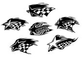 Black and white racing motor sport icons — Stock Vector