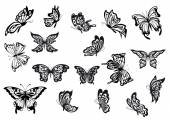 Set of black and white vector butterflies — Stock Vector