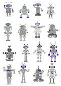 Cartooned toy robots or machines — Stock Vector
