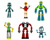 Six colorful cartoon robots, isolated on white — Stock Vector