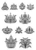 Paisley floral design elements set — Stock Vector