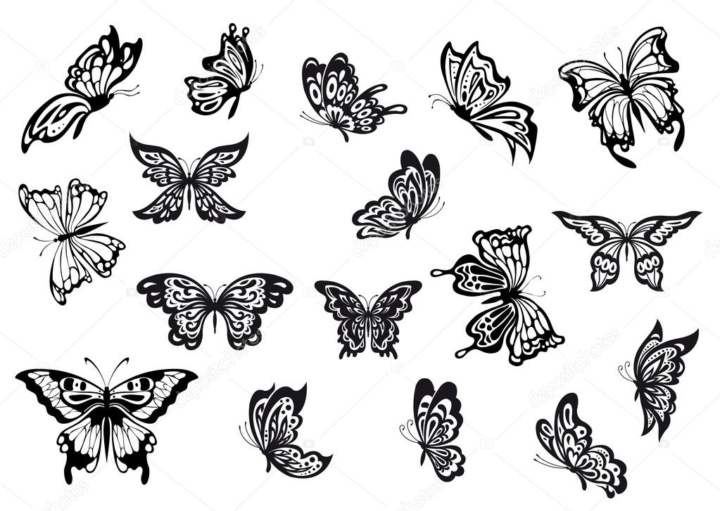 Conjunto De Mariposas Vector Blanco Y Negro