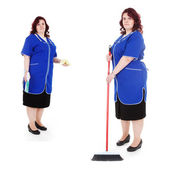 Woman cleaner with mop — Stock Photo