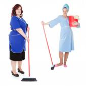 Women cleaners with mop — Stock Photo