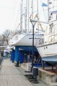 Motor boats stand at berth — Stock Photo