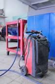 Welding machine in the service station — Stock fotografie