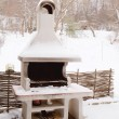 Stationary barbecue  in winter — Stock Photo #64090915