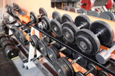 Sports dumbbells closeup — Stock Photo