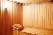 Relaxing Sauna room — Stock Photo