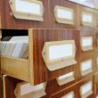 Drawers with catalog cards in library — Stock Photo #69770977