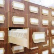 Drawers with catalog cards in library — Stock Photo #69770993