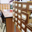Drawers with catalog cards in library — Stock Photo #69771011