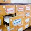 Drawers with catalog cards in library — Stock Photo #69771013