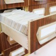 Drawers with catalog cards in library — Stock Photo #69771299