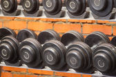 Wights in  fitness hall — Stock Photo