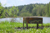 Brazier on  lake bank — Stock Photo
