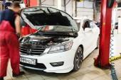 Araba satıcısı tula istasyonunda onarım — Stok fotoğraf