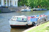 Boat on a Moika river in St. Petersburg — Stock Photo