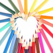Multicolored pencils forming heart — Stock Photo