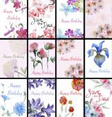 Set of handpainted watercolor flowers — Stock Photo