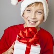 Smiling  funny child in Santa red hat — Stock fotografie #60406185
