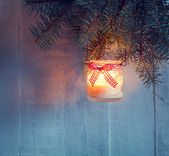 Christmas    lantern at the  evening — Stock Photo