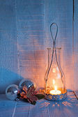 Christmas decorations and lantern at the evening . — Stock Photo