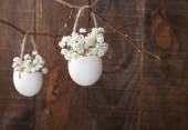 Gypsophila flowers in eggsshell — Stock Photo