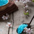 Mineral bath salt and flowers — Stock Photo #71061081