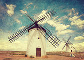 Retro image of Medieval Windmills — Stock Photo