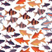 Seamless pattern fishes aquarium. — Stock Vector