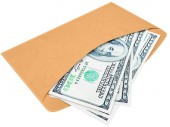 Envelope with cash dollars — Stock Photo