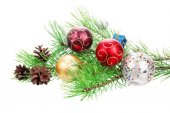 Christmas branch tree with decoration — Stock Photo