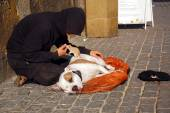 Beggar, His Dog and Rat — Stock Photo