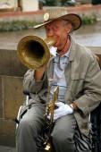 Jazz Player on the Charles Bridge — Stock Photo