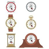 Cartoon funny clock face smiles — Vector de stock