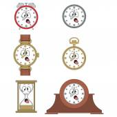 Cartoon funny clock face smiles — Stock Vector