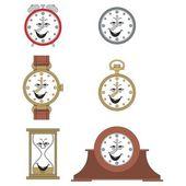 Cartoon smiling clock face smiles — Stock Vector